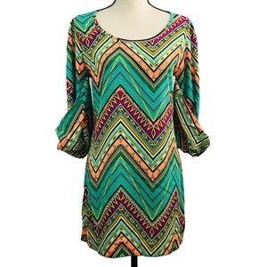 Stylebook Turquoise Chevron Print Dress